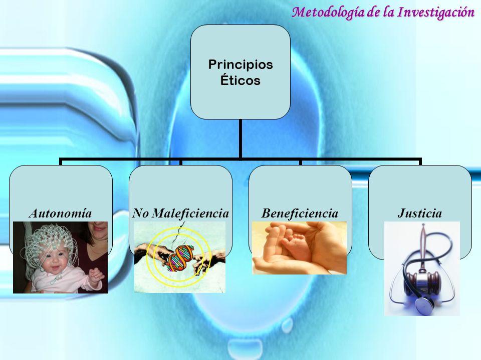 Principios Éticos Autonomía No Maleficiencia BeneficienciaJusticia Metodología de la Investigación