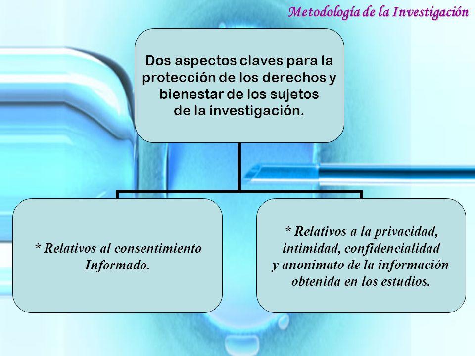 Dos aspectos claves para la protección de los derechos y bienestar de los sujetos de la investigación. * Relativos al consentimiento Informado. * Rela