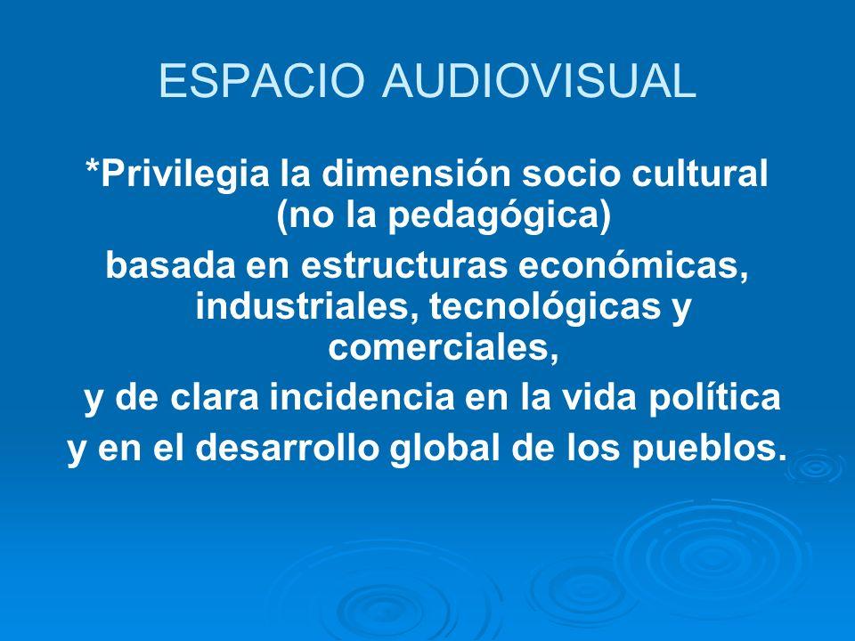 ESPACIO AUDIOVISUAL *Privilegia la dimensión socio cultural (no la pedagógica) basada en estructuras económicas, industriales, tecnológicas y comerciales, y de clara incidencia en la vida política y en el desarrollo global de los pueblos.