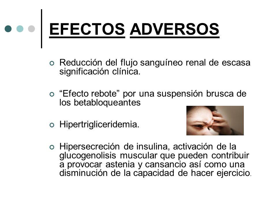 EFECTOS ADVERSOS Reducción del flujo sanguíneo renal de escasa significación clínica. Efecto rebote por una suspensión brusca de los betabloqueantes H