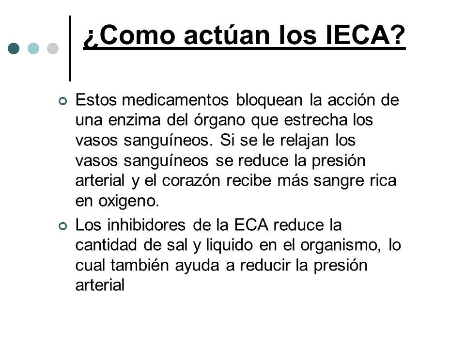 ¿Como actúan los IECA? Estos medicamentos bloquean la acción de una enzima del órgano que estrecha los vasos sanguíneos. Si se le relajan los vasos sa