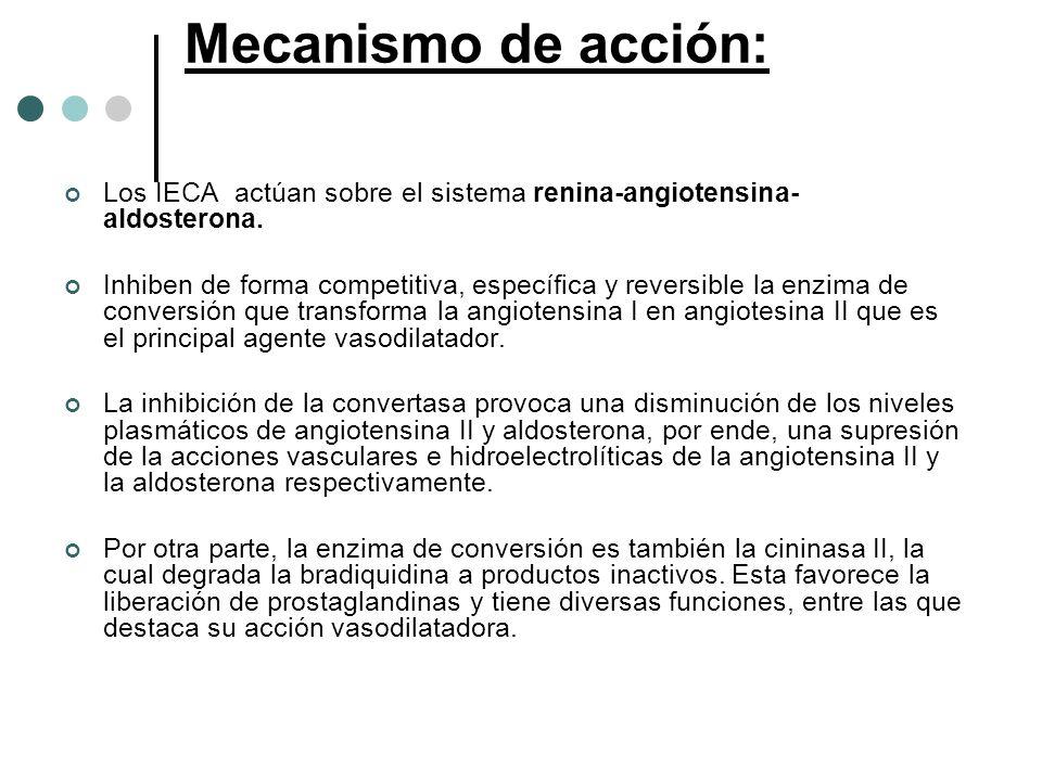 Mecanismo de acción: Los IECA actúan sobre el sistema renina-angiotensina- aldosterona. Inhiben de forma competitiva, específica y reversible la enzim