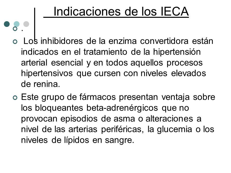 Indicaciones de los IECA. Los inhibidores de la enzima convertidora están indicados en el tratamiento de la hipertensión arterial esencial y en todos