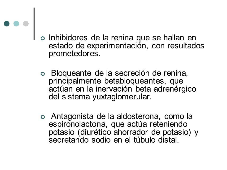 Inhibidores de la renina que se hallan en estado de experimentación, con resultados prometedores. Bloqueante de la secreción de renina, principalmente