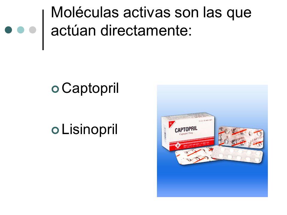 Moléculas activas son las que actúan directamente: Captopril Lisinopril