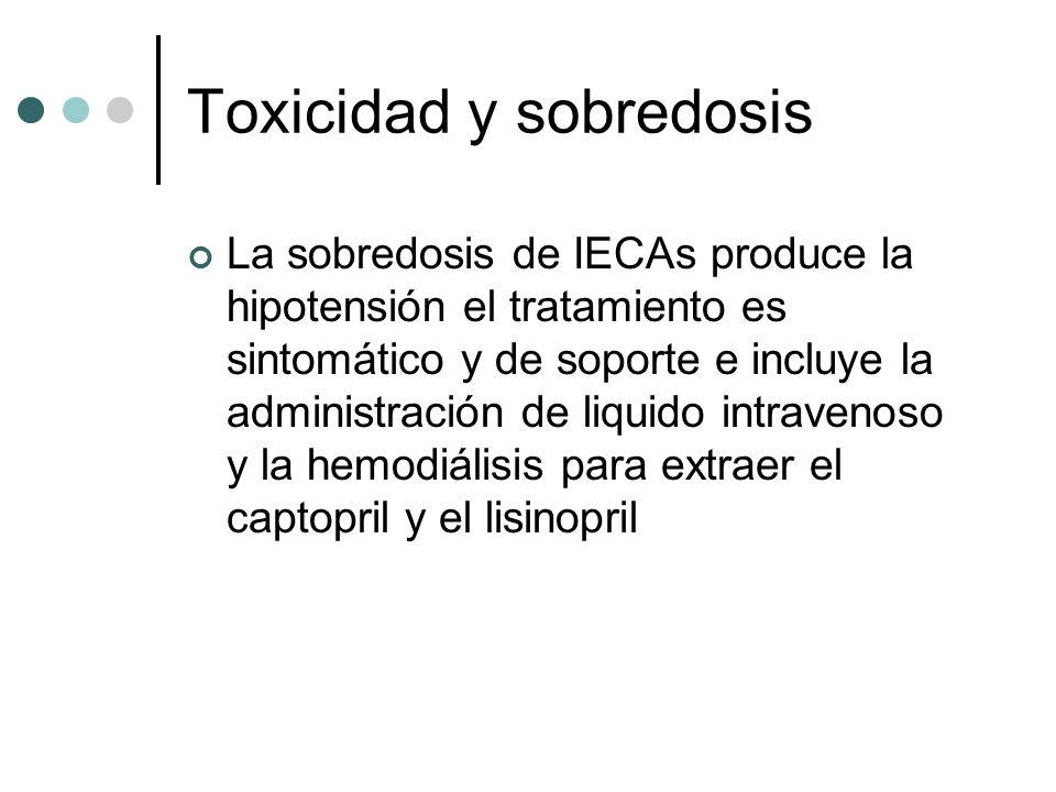 Toxicidad y sobredosis La sobredosis de IECAs produce la hipotensión el tratamiento es sintomático y de soporte e incluye la administración de liquido