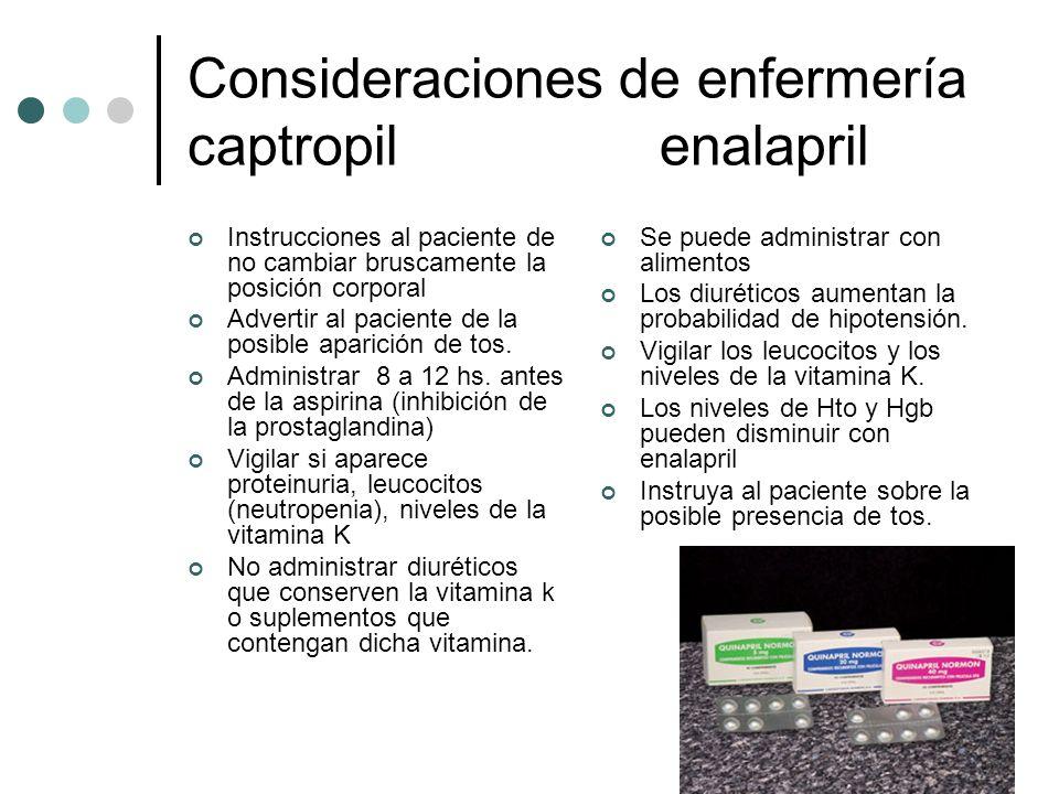 Consideraciones de enfermería captropil enalapril Instrucciones al paciente de no cambiar bruscamente la posición corporal Advertir al paciente de la