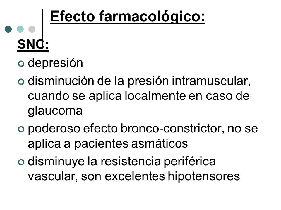 Efecto farmacológico: SNC: depresión disminución de la presión intramuscular, cuando se aplica localmente en caso de glaucoma poderoso efecto bronco-c