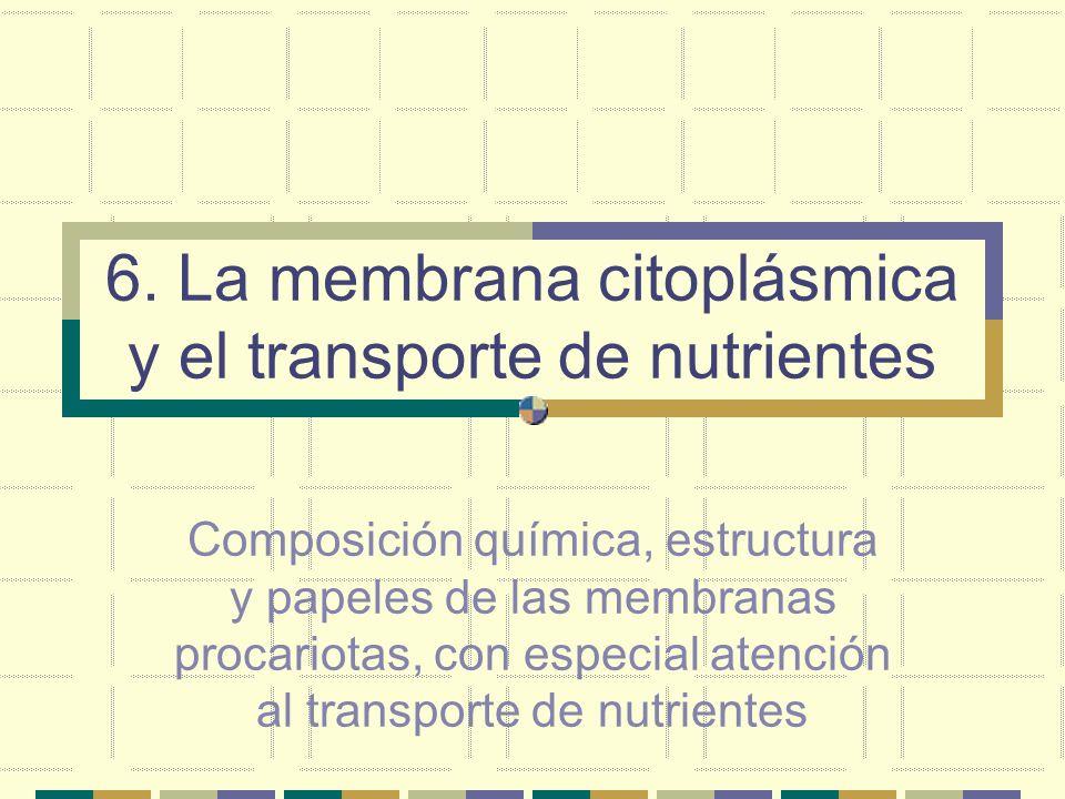 6. La membrana citoplásmica y el transporte de nutrientes Composición química, estructura y papeles de las membranas procariotas, con especial atenció