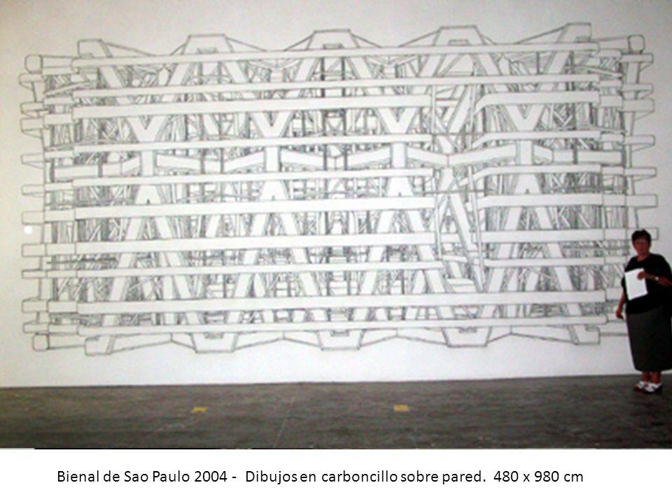 Bienal de Sao Paulo 2004 - Dibujos en carboncillo sobre pared. 480 x 980 cm