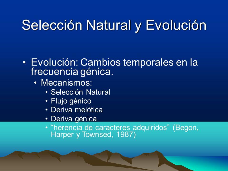 Selección Natural y Evolución Evolución: Cambios temporales en la frecuencia génica. Mecanismos: Selección Natural Flujo génico Deriva meiótica Deriva