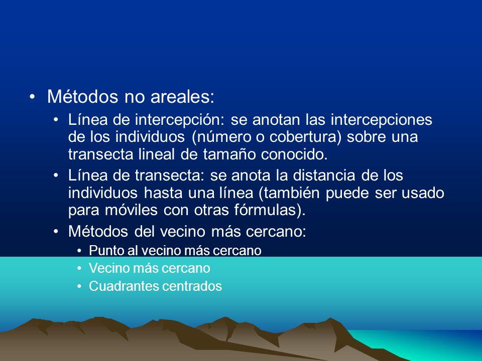 Métodos no areales: Línea de intercepción: se anotan las intercepciones de los individuos (número o cobertura) sobre una transecta lineal de tamaño co