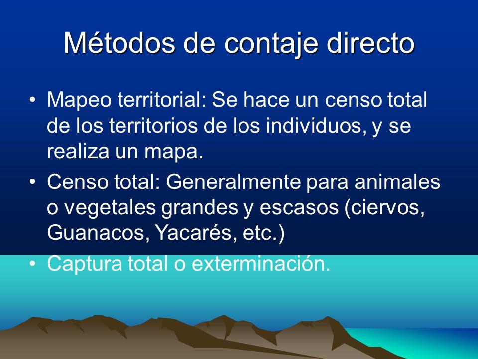 Métodos de contaje directo Mapeo territorial: Se hace un censo total de los territorios de los individuos, y se realiza un mapa. Censo total: Generalm
