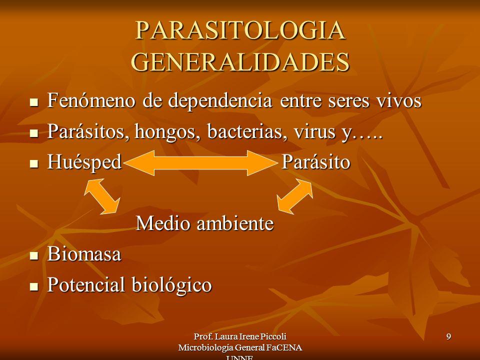 Prof. Laura Irene Piccoli Microbiología General FaCENA UNNE 9 PARASITOLOGIA GENERALIDADES Fenómeno de dependencia entre seres vivos Fenómeno de depend