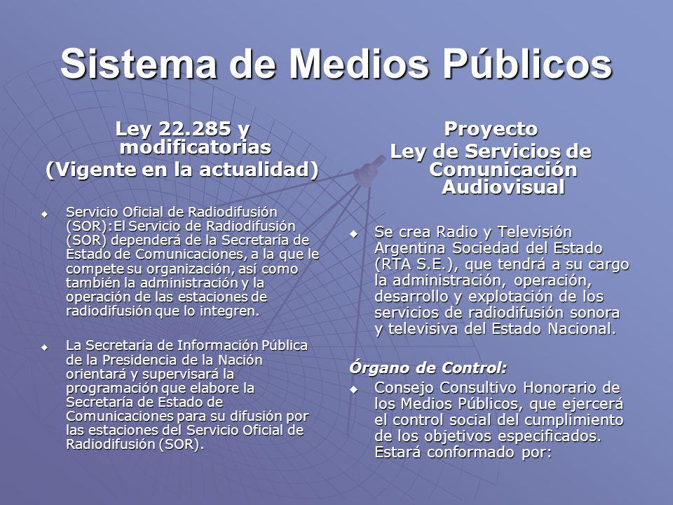 Sistema de Medios Públicos Ley 22.285 y modificatorias (Vigente en la actualidad) Servicio Oficial de Radiodifusión (SOR):El Servicio de Radiodifusión (SOR) dependerá de la Secretaría de Estado de Comunicaciones, a la que le compete su organización, así como también la administración y la operación de las estaciones de radiodifusión que lo integren.