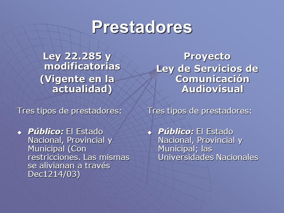 Prestadores Ley 22.285 y modificatorias (Vigente en la actualidad) Tres tipos de prestadores: Público: El Estado Nacional, Provincial y Municipal (Con restricciones.