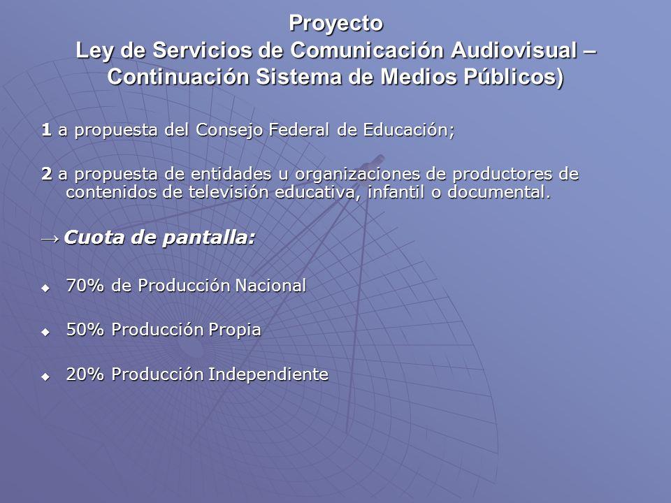 Proyecto Ley de Servicios de Comunicación Audiovisual – Continuación Sistema de Medios Públicos) 1 a propuesta del Consejo Federal de Educación; 2 a propuesta de entidades u organizaciones de productores de contenidos de televisión educativa, infantil o documental.