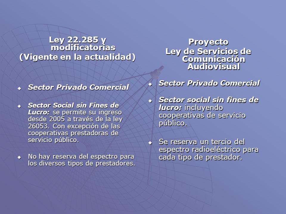 Ley 22.285 y modificatorias (Vigente en la actualidad) Sector Privado Comercial Sector Privado Comercial Sector Social sin Fines de Lucro: se permite su ingreso desde 2005 a través de la ley 26053.