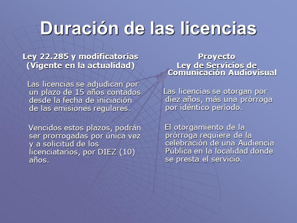 Duración de las licencias Ley 22.285 y modificatorias (Vigente en la actualidad) Las licencias se adjudican por un plazo de 15 años contados desde la fecha de iniciación de las emisiones regulares.