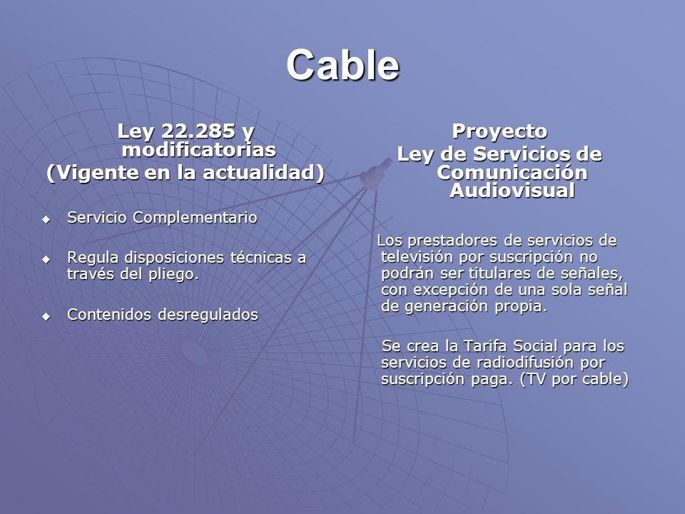 Cable Ley 22.285 y modificatorias (Vigente en la actualidad) Servicio Complementario Servicio Complementario Regula disposiciones técnicas a través del pliego.