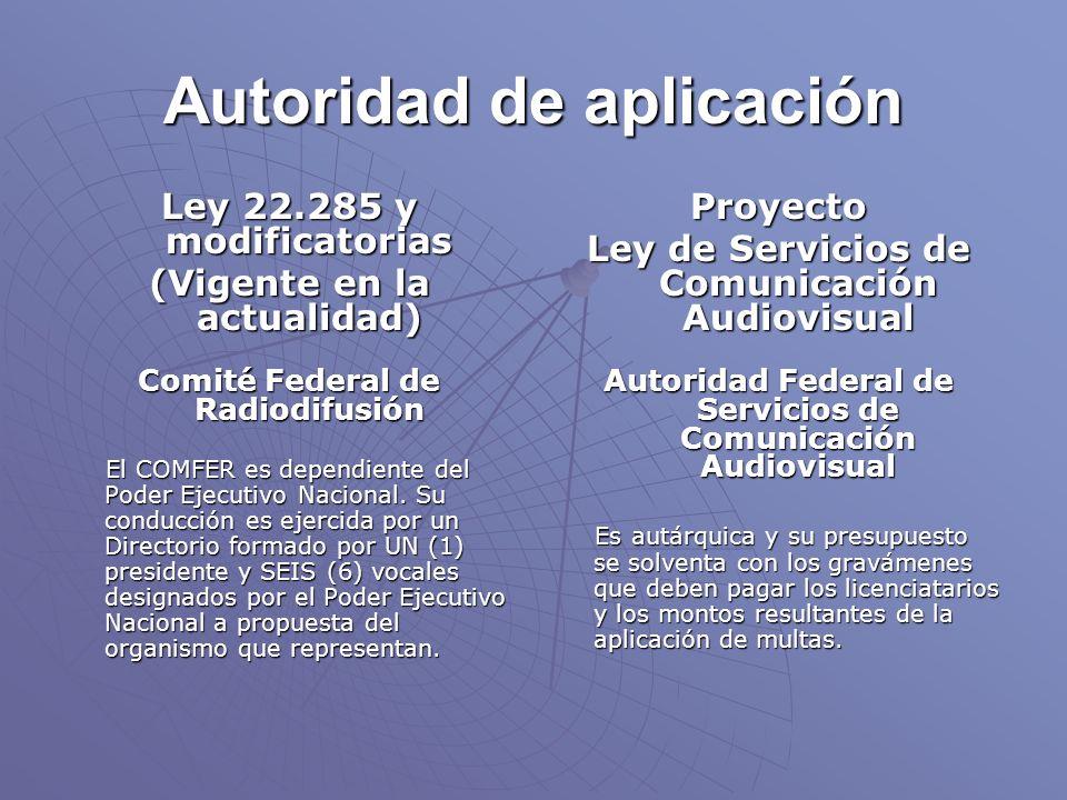 Autoridad de aplicación Ley 22.285 y modificatorias (Vigente en la actualidad) Comité Federal de Radiodifusión El COMFER es dependiente del Poder Ejecutivo Nacional.