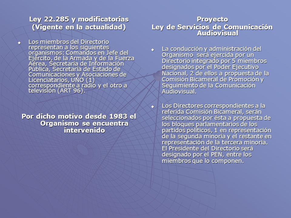 Ley 22.285 y modificatorias (Vigente en la actualidad) Los miembros del Directorio representan a los siguientes organismos: Comandos en Jefe del Ejército, de la Armada y de la Fuerza Aérea, Secretaría de Información Pública, Secretaría de Estado de Comunicaciones y Asociaciones de Licenciatarios, UNO (1) correspondiente a radio y el otro a televisión (ART 96).