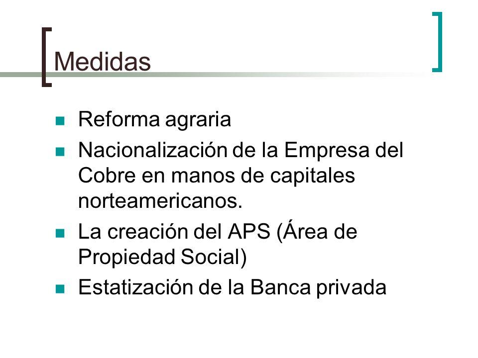 Medidas Reforma agraria Nacionalización de la Empresa del Cobre en manos de capitales norteamericanos. La creación del APS (Área de Propiedad Social)