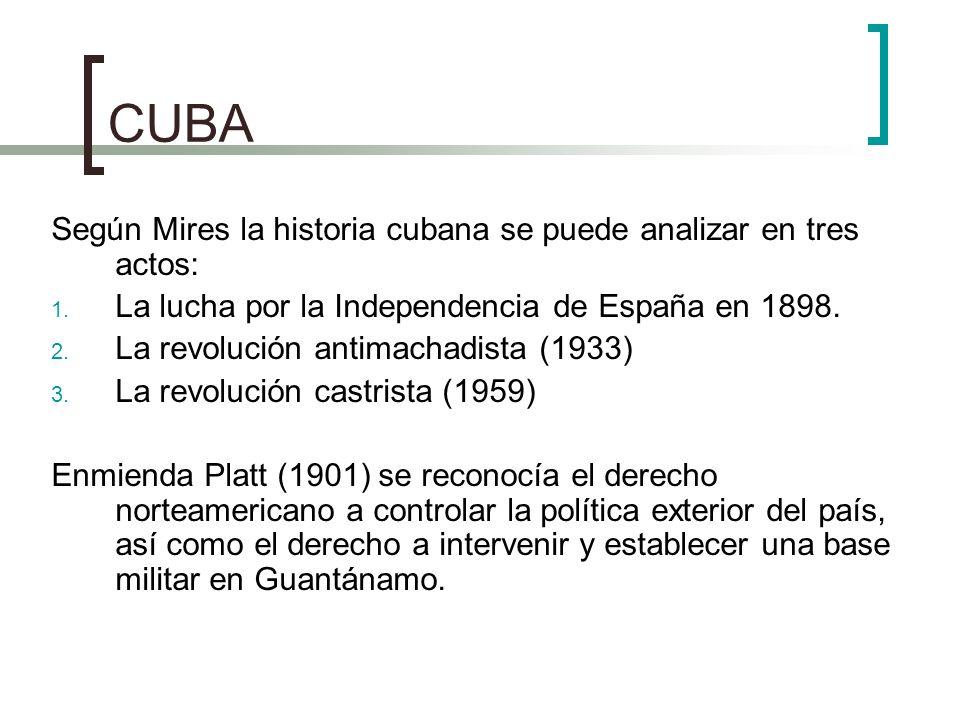 CUBA Según Mires la historia cubana se puede analizar en tres actos: 1. La lucha por la Independencia de España en 1898. 2. La revolución antimachadis