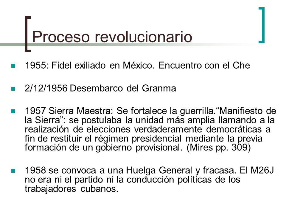 Proceso revolucionario 1955: Fidel exiliado en México. Encuentro con el Che 2/12/1956 Desembarco del Granma 1957 Sierra Maestra: Se fortalece la guerr