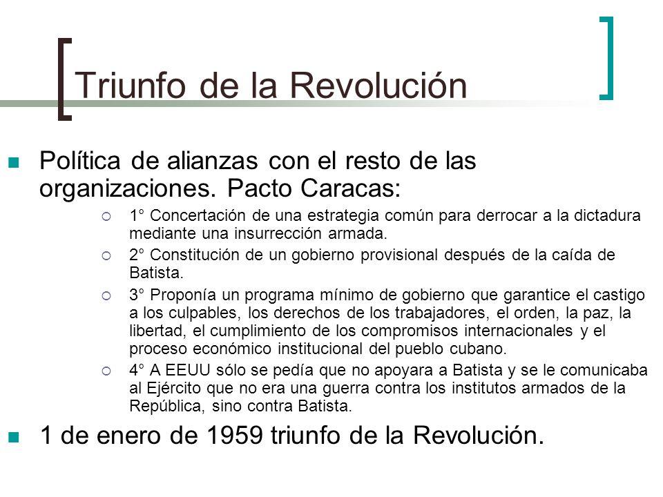 Triunfo de la Revolución Política de alianzas con el resto de las organizaciones. Pacto Caracas: 1° Concertación de una estrategia común para derrocar