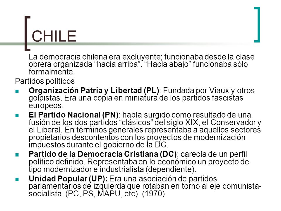 Proceso chileno 1964-1970 Frei (PDC) El gobierno se cobijó en el papel de administrador de la crisis, pactando ocasionalmente con la izquierda y con la derecha para dejar finalmente descontentos a todos.
