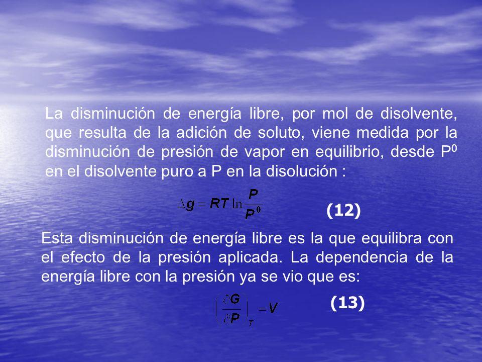 La disminución de energía libre, por mol de disolvente, que resulta de la adición de soluto, viene medida por la disminución de presión de vapor en eq