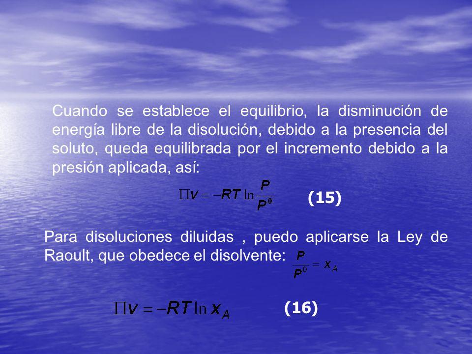 Cuando se establece el equilibrio, la disminución de energía libre de la disolución, debido a la presencia del soluto, queda equilibrada por el increm