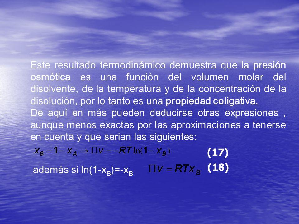 Este resultado termodinámico demuestra que la presión osmótica es una función del volumen molar del disolvente, de la temperatura y de la concentració