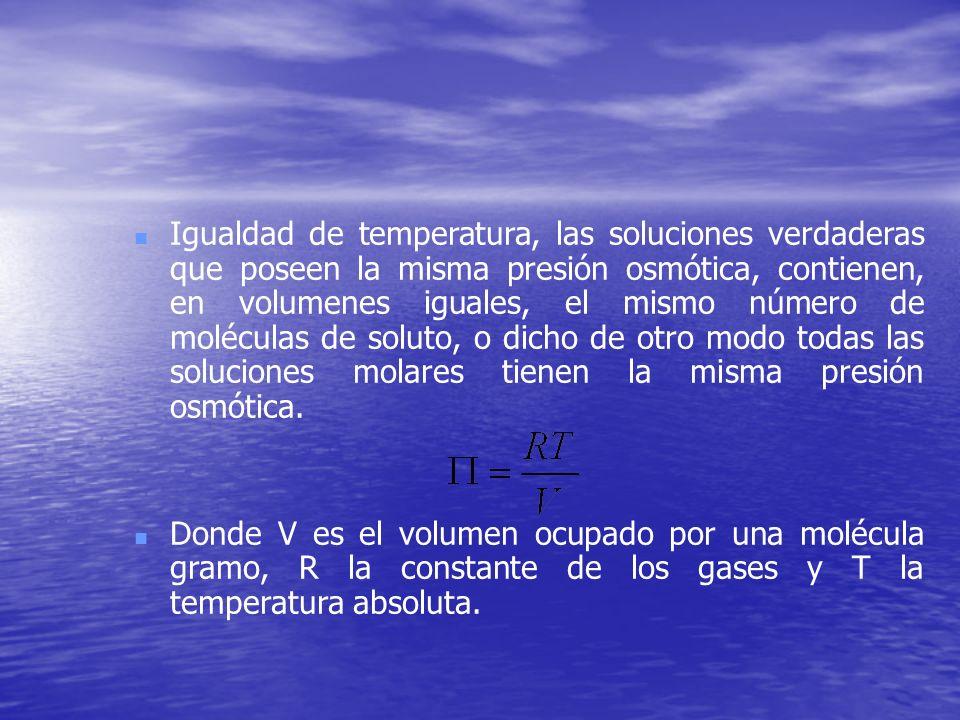 Igualdad de temperatura, las soluciones verdaderas que poseen la misma presión osmótica, contienen, en volumenes iguales, el mismo número de moléculas