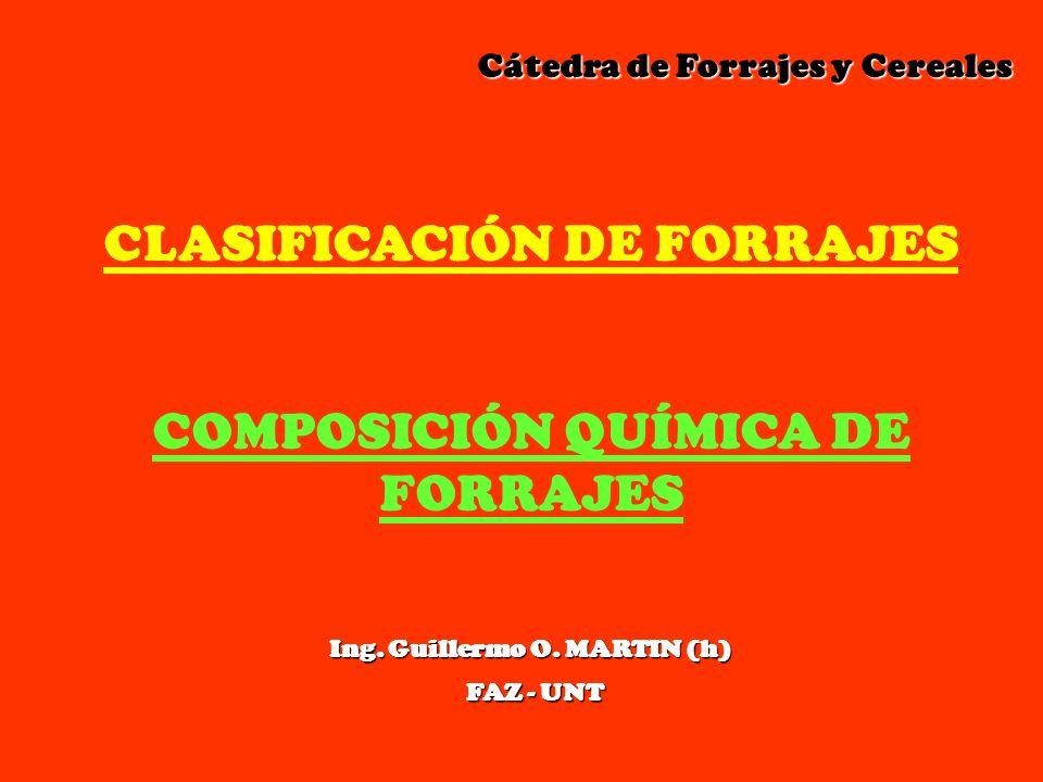 Cátedra de Forrajes y Cereales Cátedra de Forrajes y Cereales CLASIFICACIÓN DE FORRAJES COMPOSICIÓN QUÍMICA DE FORRAJES Ing. Guillermo O. MARTIN (h) F