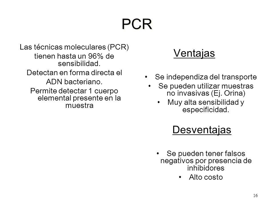 PCR Las técnicas moleculares (PCR) tienen hasta un 96% de sensibilidad. Detectan en forma directa el ADN bacteriano. Permite detectar 1 cuerpo element