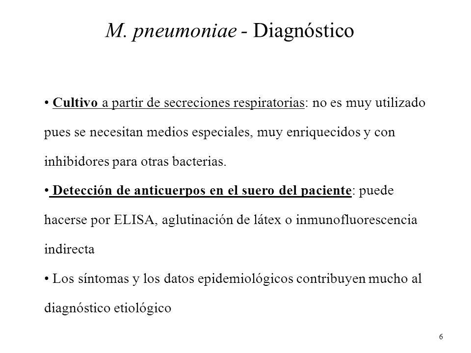 6 M. pneumoniae - Diagnóstico Cultivo a partir de secreciones respiratorias: no es muy utilizado pues se necesitan medios especiales, muy enriquecidos
