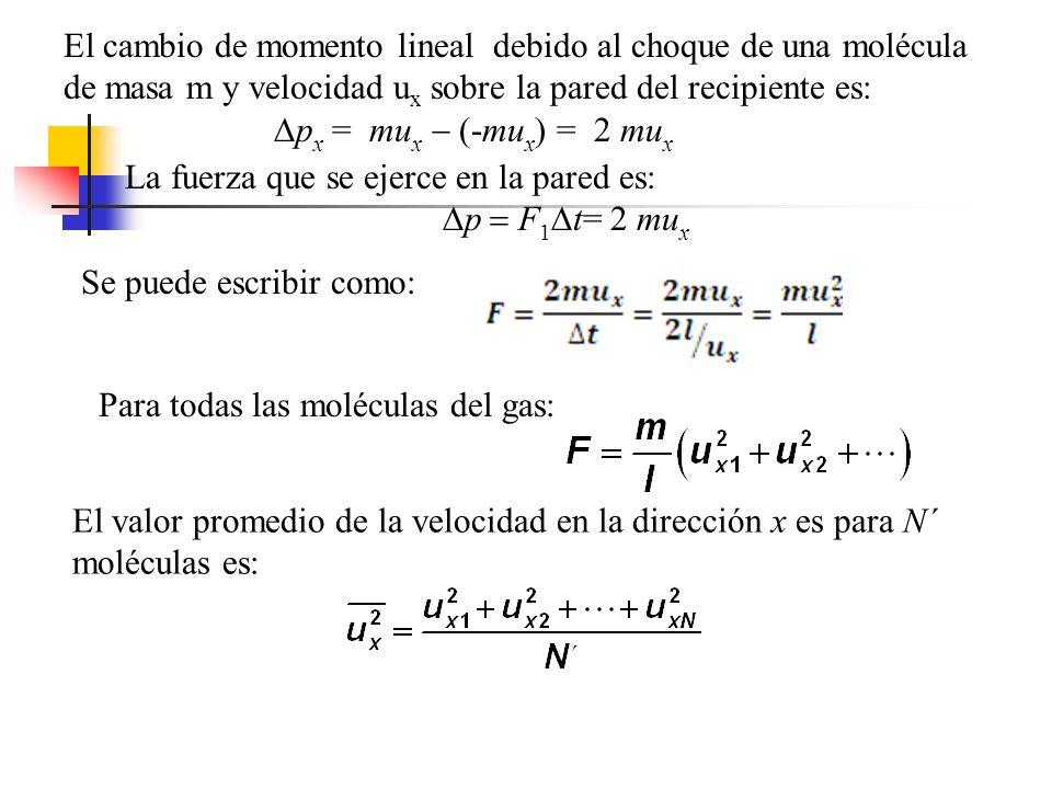 Así pues, la fuerza total sobre la pared puede escribirse El teorema de Pitágoras relaciona el cuadrado de la velocidad con el cuadrado de sus componentes: En consecuencia, el valor promedio de u 2 es: En virtud de que el movimiento es completamente aleatorio, los valores promedio de las componentes de velocidad son iguales entre sí.