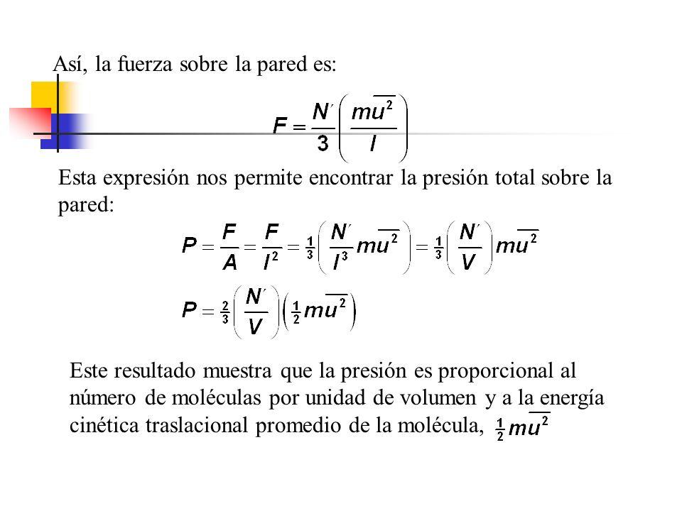 Puesto que la molécula recorre una distancia u x en 1 seg.