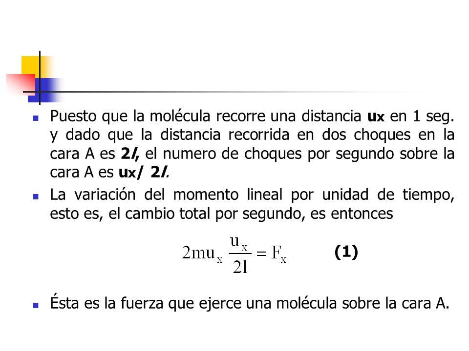 Puesto que la presión es fuerza por unidad de superficie, la presión ejercida por una molécula sobre la cara A ha de ser: Donde es el volumen del recipiente.