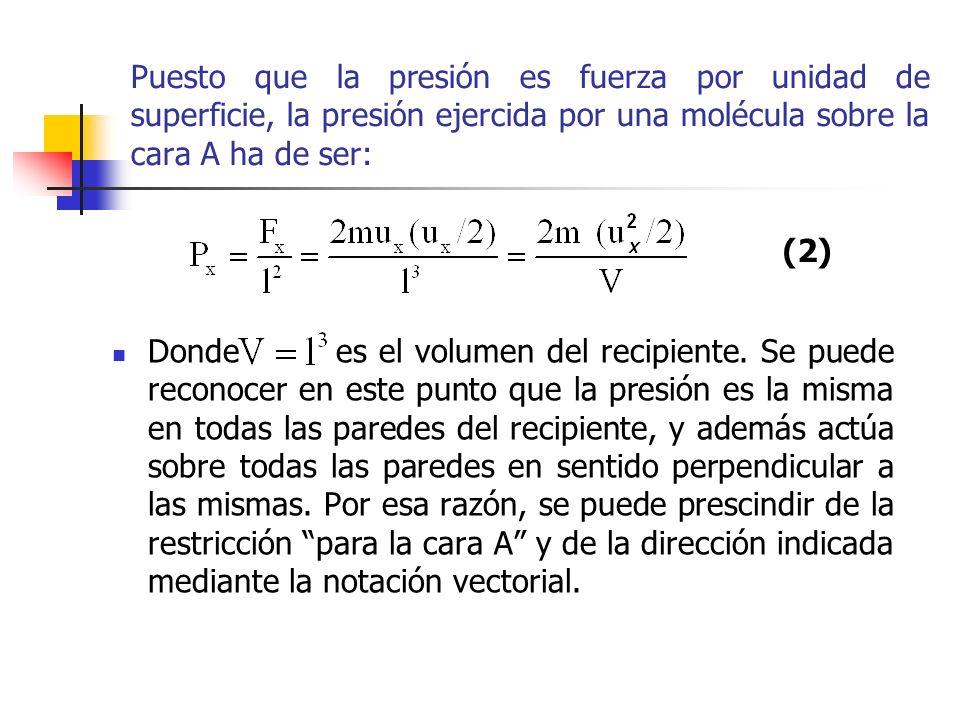 Así se obtiene que Considérese ahora, N´ moléculas en lugar de una sola que estén contenidas en un recipiente de forma cúbica.