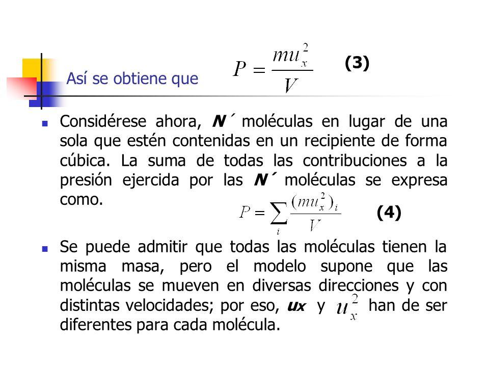 Si el valor medio de de las N´ moléculas del gas se designa por, la ecuación se puede modificar para obtener el valor de la presión necesaria para confinar N´ moléculas en un volumen V, la cual es (5)