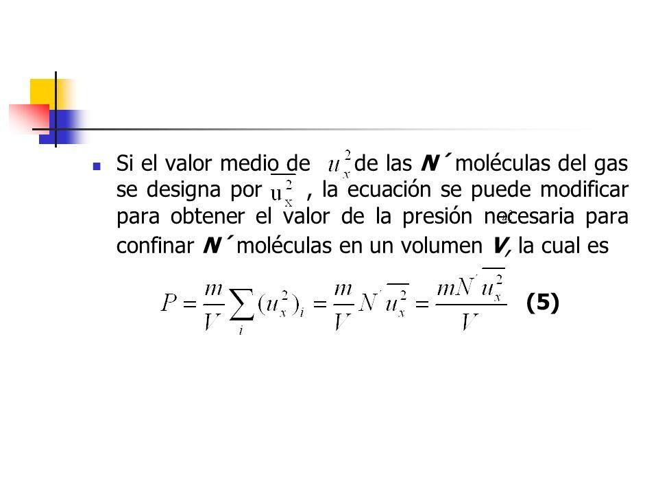 Sin embargo, es más adecuado disponer de una relación entre la presión de las N´ moléculas y el valor medio de la velocidad de la molécula en lugar de la componente x de esta velocidad.