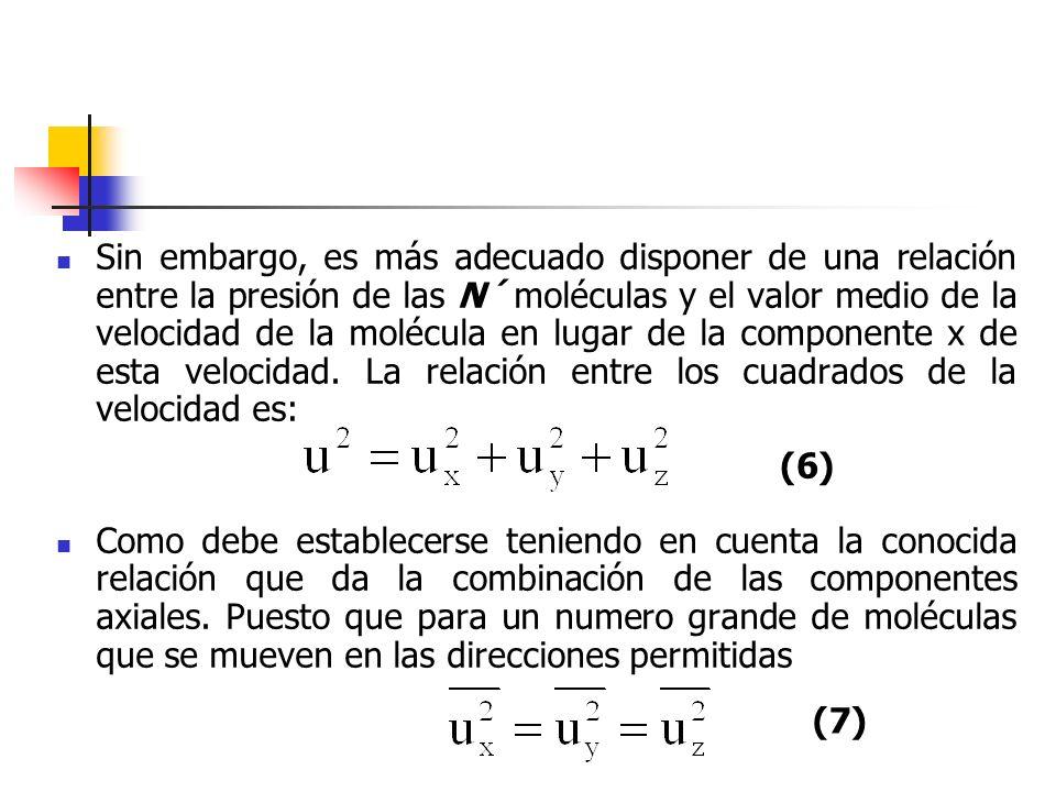 La ecuación más adecuada que puede establecerse será Téngase en cuenta que y son magnitudes escalares y no vectoriales, es decir, indican cuantía y no direcciones de las velocidades moleculares.