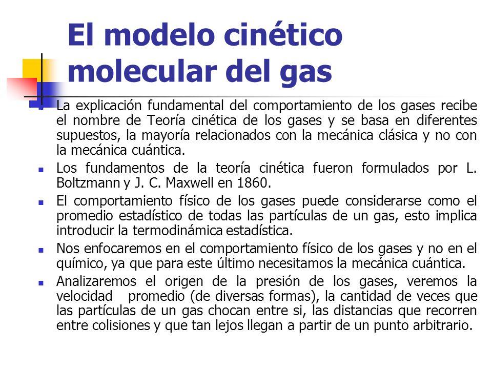 Las leyes de los gases y las propiedades de los mismos pueden interpretarse a través de un modelo, según el cual los gases se comportaran como conjuntos formados por un número muy grande de pequeñas partículas, llamadas moléculas, que se mueven y chocan unas con otras y con la paredes del recipiente que contiene el gas.