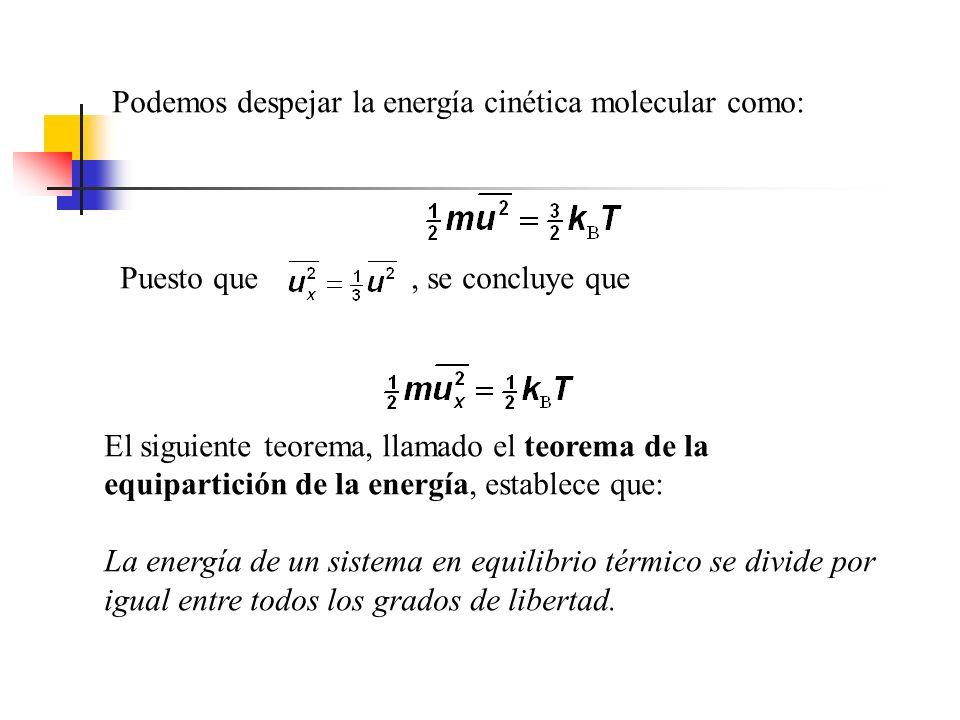 La energía cinética traslacional de N moléculas es simplemente N veces la energía promedio por molécula, entonces: La raíz cuadrada de se conoce como velocidad cuadrática media de las moléculas (rms, por sus siglas en inglés).