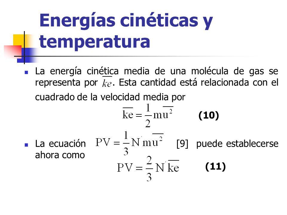 Las propiedades moleculares como se pueden medir mediante el número de Avogadro N que relaciona el número de moléculas N´ con el número de moles n, con la ecuación La ecuación [11] puede establecerse ahora como: (12) (13)