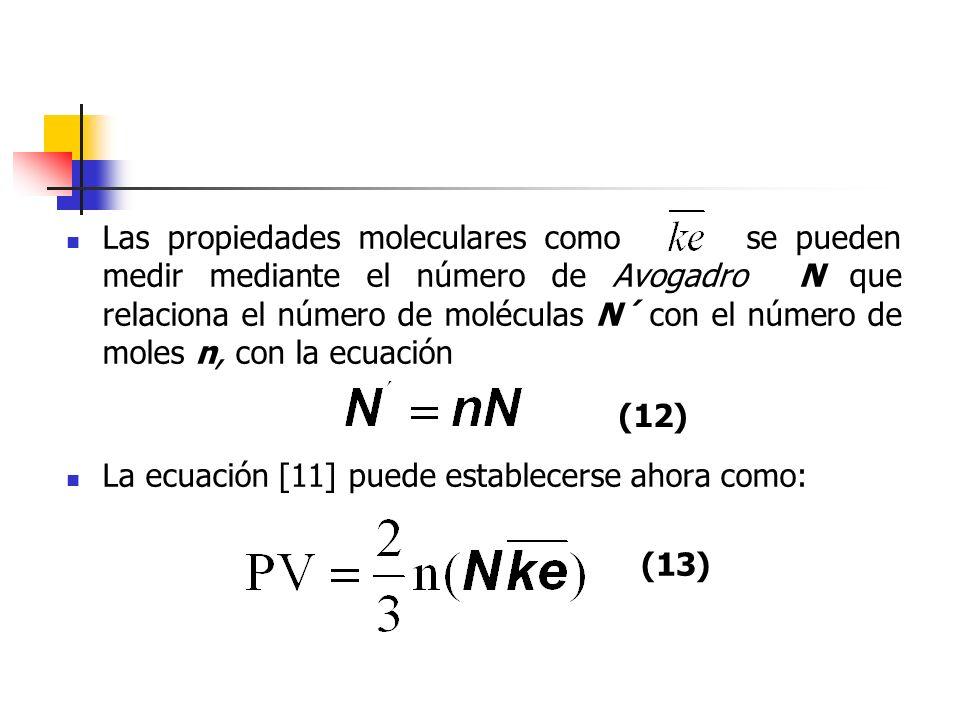 Además si se introduce el factor KE para representar la energía cinética de un número de moléculas igual al de Avogadro, se transforma: Aquí es necesario recordar la ecuación empírica: PV= nRT Donde al hacer concordar la deducción teórica y la ley experimental, igualando, con RT (14)