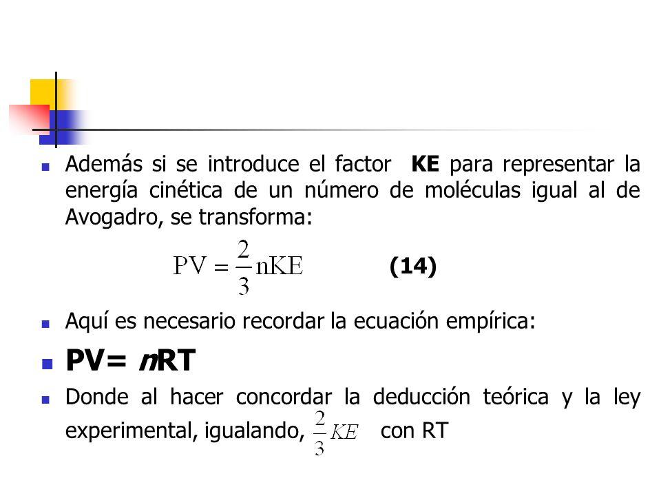 De ésta forma, si la energía cinética media de traslación de un número de moléculas igual al de Avogadro, esto es, 1 mol, tiene el valor, entonces las leyes de los gases ideales, que están comprendidas en la relación PV= nRT, deben deducirse de los postulados de la teoría cineticomolecular.